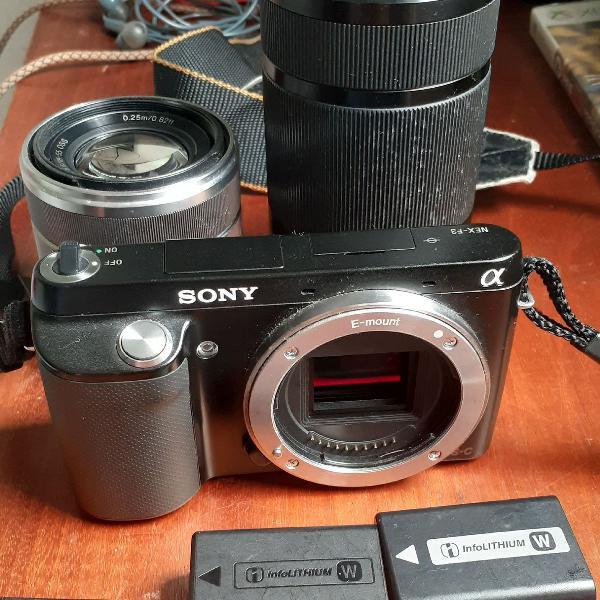 Câmera sony nex f3 com lente 18x55 2 baterias e 1 memory