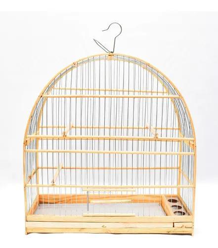 Gaiola artesanal madeira e aramado arco grande completa g