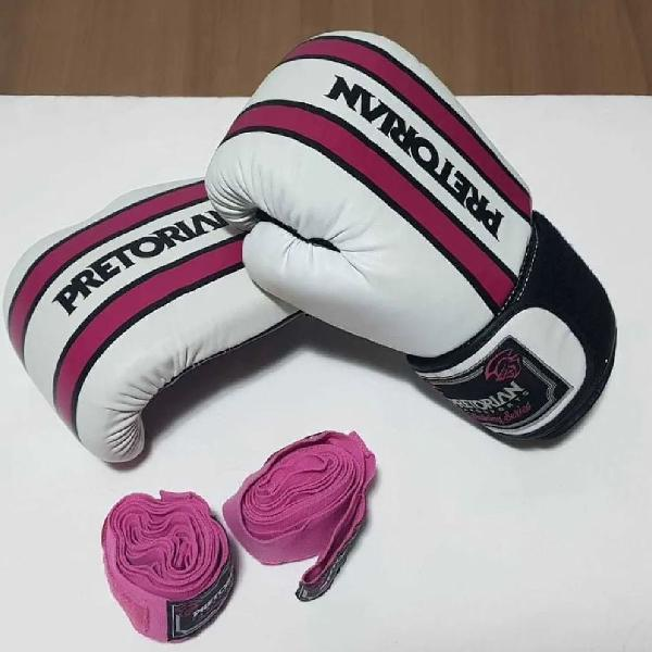 Luva de boxe pretorian training rosa/branca 12oz + bandagem