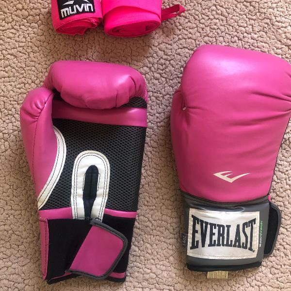 Luva de boxe everlast pro style 14oz pink