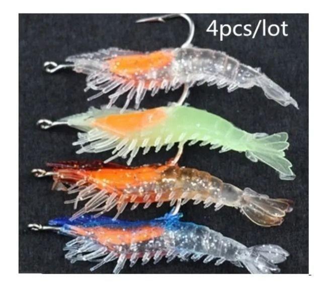 4 pcs 3g/6 cm macio silicone isca de pesca luminosa camarão