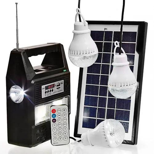 Bateria portátil placa solar 3 lâmpadas led mp3 usb