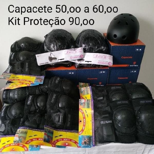 Capacete 50,00 a 60,00 - kit de proteção 90,00 - novo