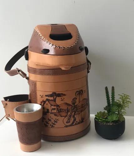 Garrafa térmica couro tereré/chimarrão + cuia(gravamos