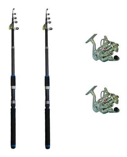 Kit 2 vara tilápia pesca leve xingu 2,10m +2 molinetes 3