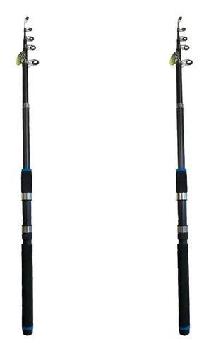 Kit 2 varas telescópicas xingu p/ molinete tilápia 2,10 m