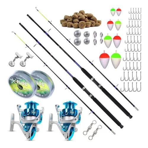 Kit de pesca 2 varas 2,10m 2 molinetes 4000 - para até 18kg