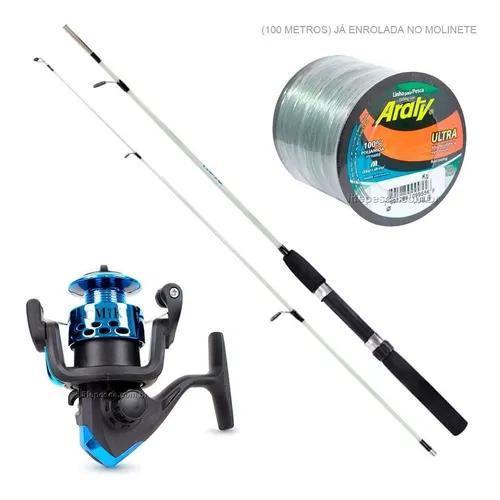 Kit de pesca vara + molinete c/ linha resistente promoção!