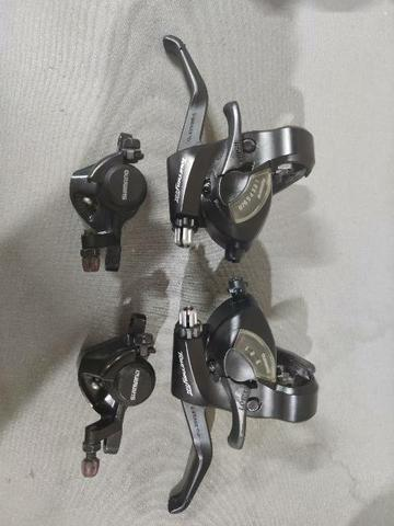 Kit shimano trocador v24 + freio disco mecânico