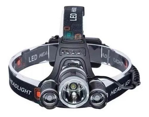 Lanterna de cabeça bike 3 led cree recarregável t6