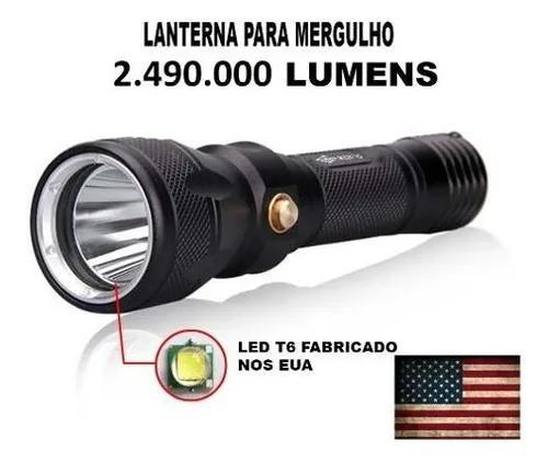 Lanterna tática mergulho led t6 2.490000 lumens a melhor