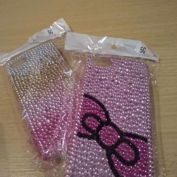 Capa / case celular iphone 5 com strass colorido, nova, na