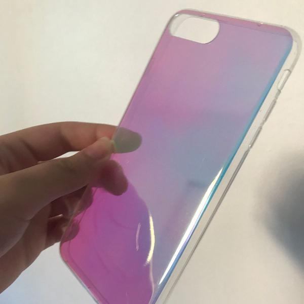 Capinha iphone 7/8 plus holográfica/furta cor espelhada