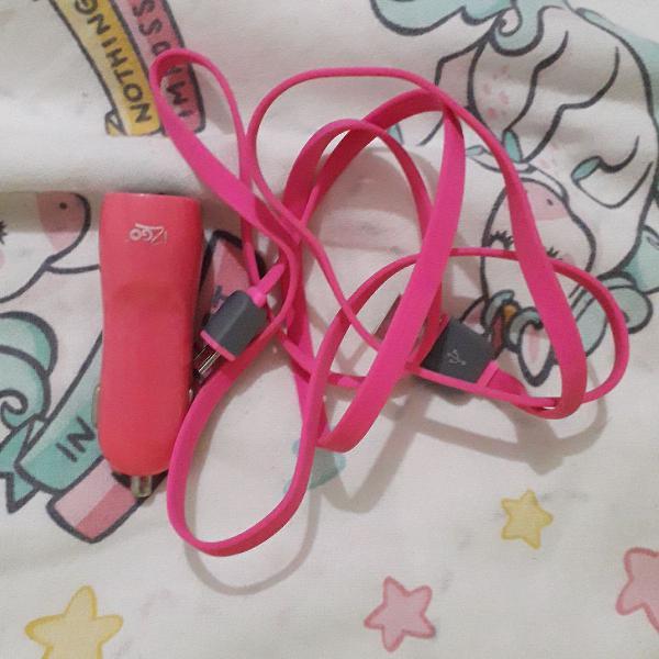 Carregador de carro i2go + cabo usb rosa