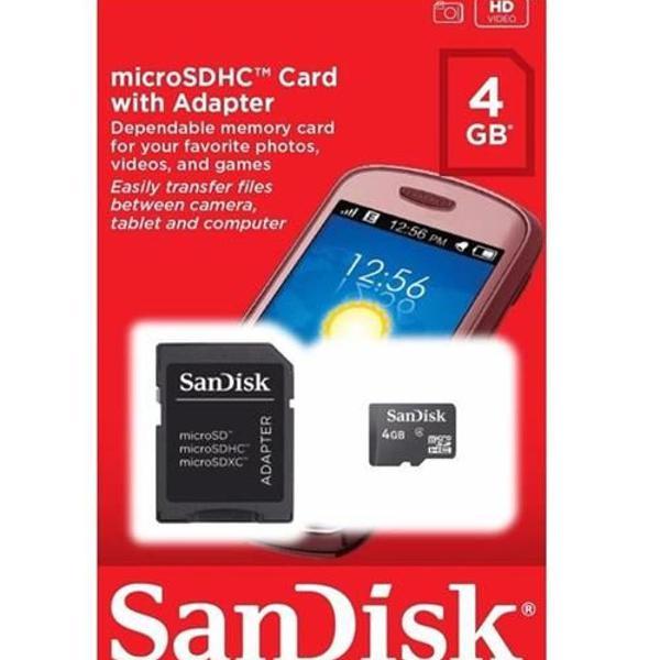 Cartão micro sandisk 4 gb classe 4 + adaptador