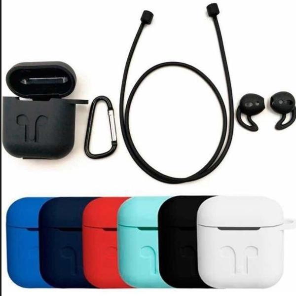 Kit case airpods 4 acessórios alça + gancho + ear cap +