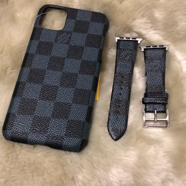 Kit case iphone 11 pro max pulseira iwatch 38/40-42-44 louis