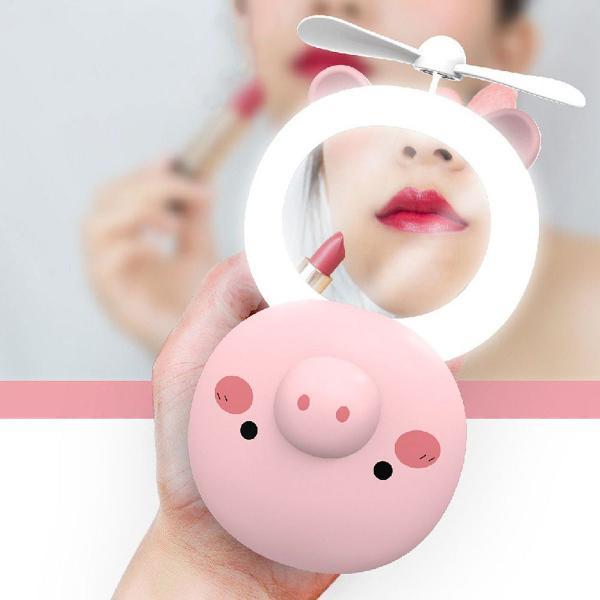 Mini espelho ventilador porquinho usb luz led recarregável