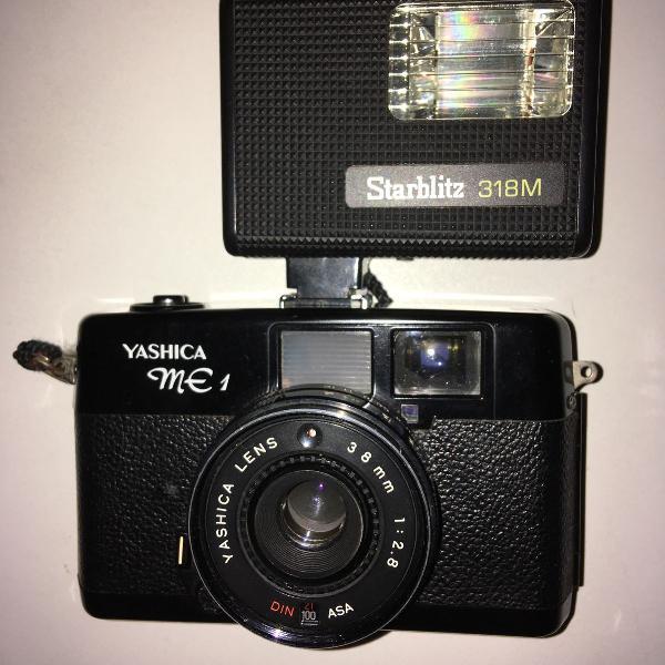 Máquina fotográfica yashica me1, com flash, com manual!