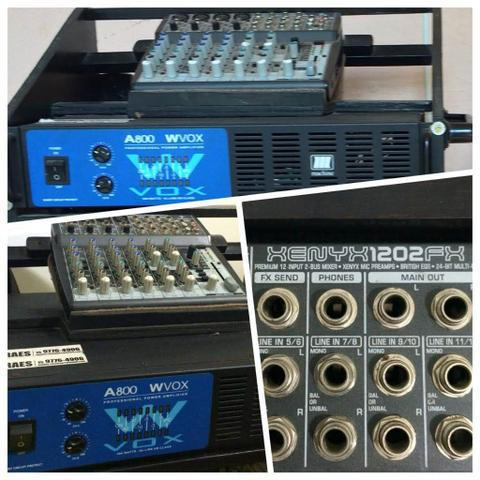 Amplificador potência + mesa de som. aceito parcelamento