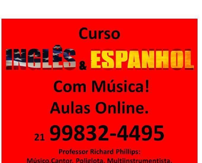 Curso de inglês e espanhol com música online grátis aulas