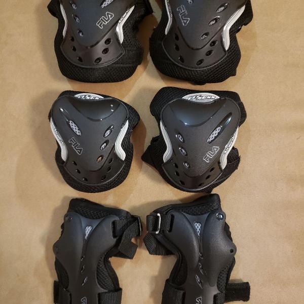 Kit fila de joelheira, cotoveleira e protetor para mãos