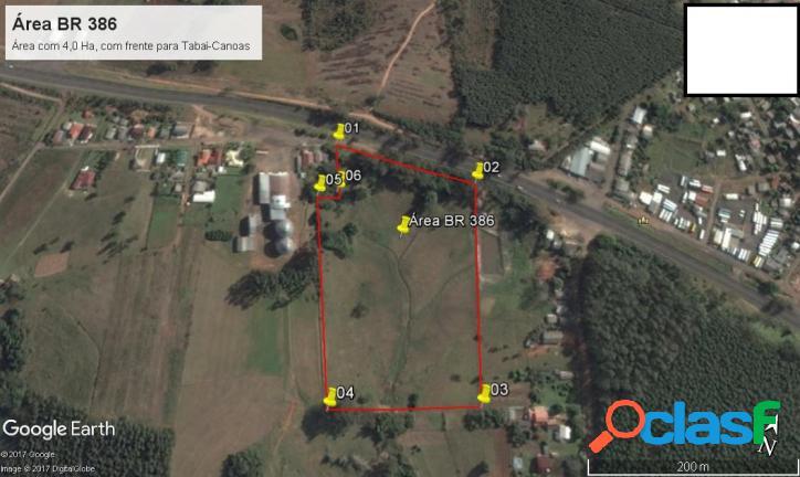 Área de terras 4 hectares com frente para a br 386