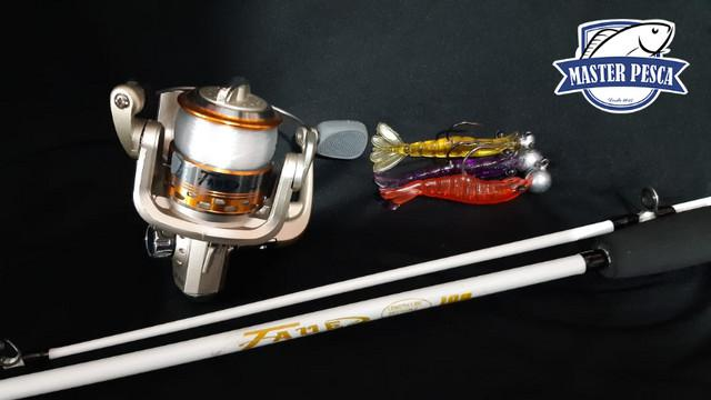 Kit molinete taue- 8 rolamentos + vara 16 lb + 3 camarão