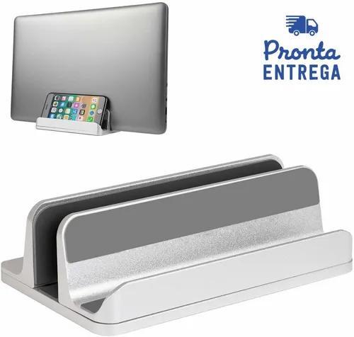 Suporte vertical macbook notebook alumínio ajustável prata