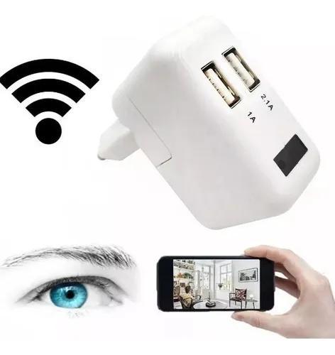 Carregador espião wifi 1080p sd câmera full hd celular