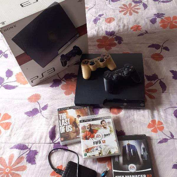 Playstation ps 3 desbloqueado 2 controles hd externo 1 tera