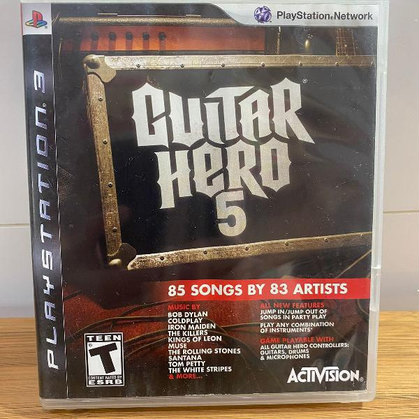 Jogo ps3 guitar hero 5 - 85 songs by 83 artists