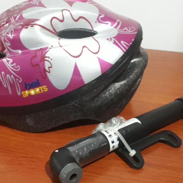 Kit capacete fem e bomba bike