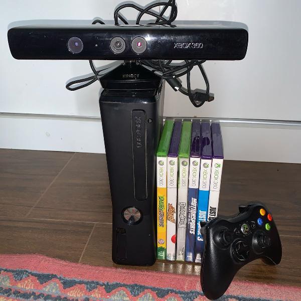 Xbox 360 com kinect + 6 jogos originais