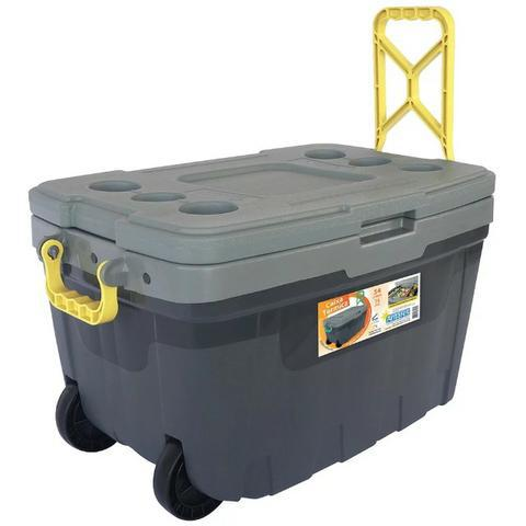 Caixa térmica 54 litros c/ rodinha e divisórias camping,