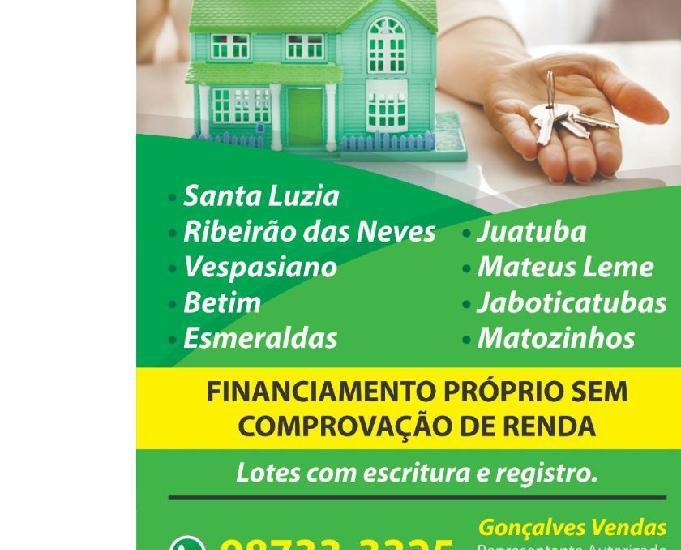 Lotes 100%financiados região metropolitana de bh