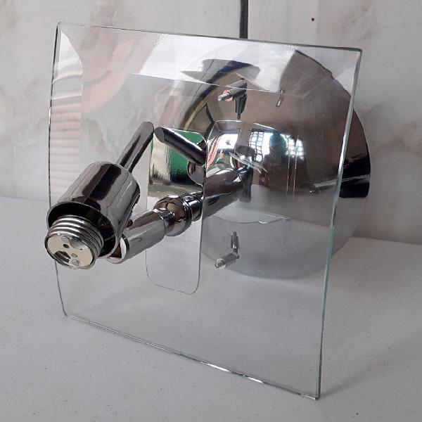 Luminária de teto em aço e vidro novo
