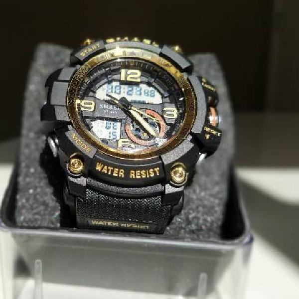 Relógio smael 1617 black gold militar a prova dágua