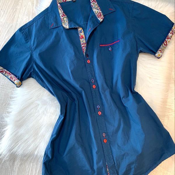 Camisa social azul petróleo masculina slim manga curta