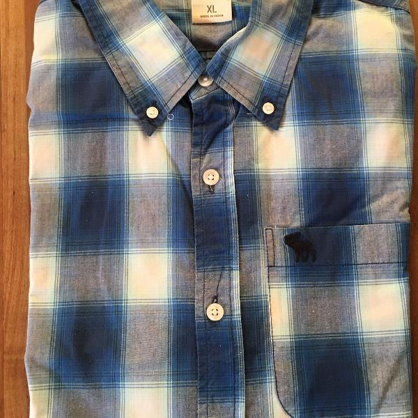 Camisa xadrez azul manga comprida abercrombie