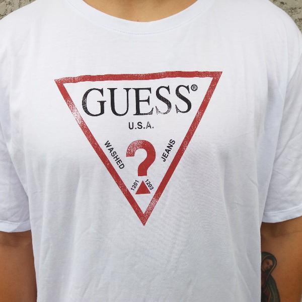 Camiseta guess usa logo classic branca vermelho original