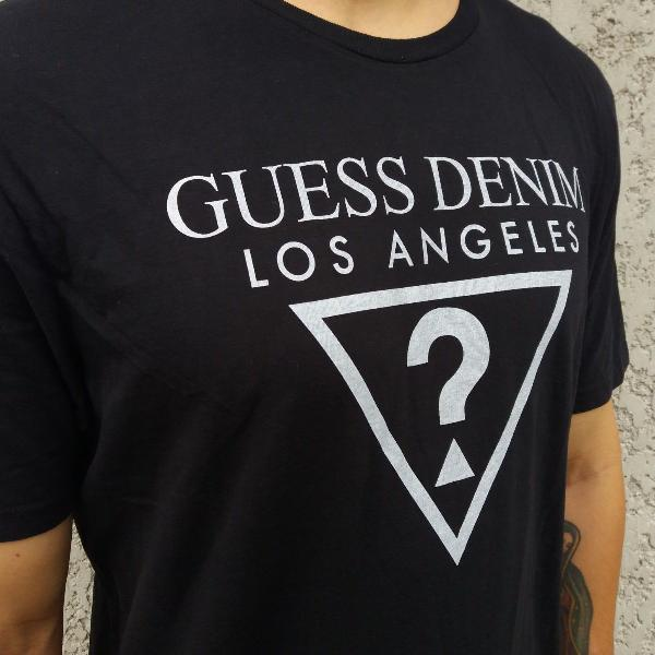 Camiseta guess usa logo los angeles classic preta original