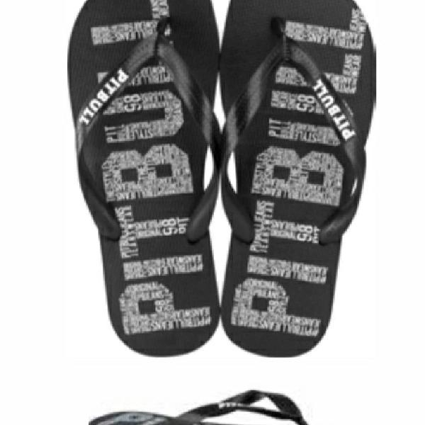 Chinelo pit bull jeans letras black