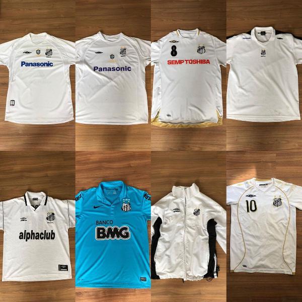 Combo 9 camisas + jaqueta + pulseiras santos futebol clube
