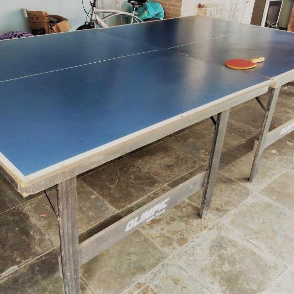 Mesa de ping pong olimpic usada + par de raquetes semi