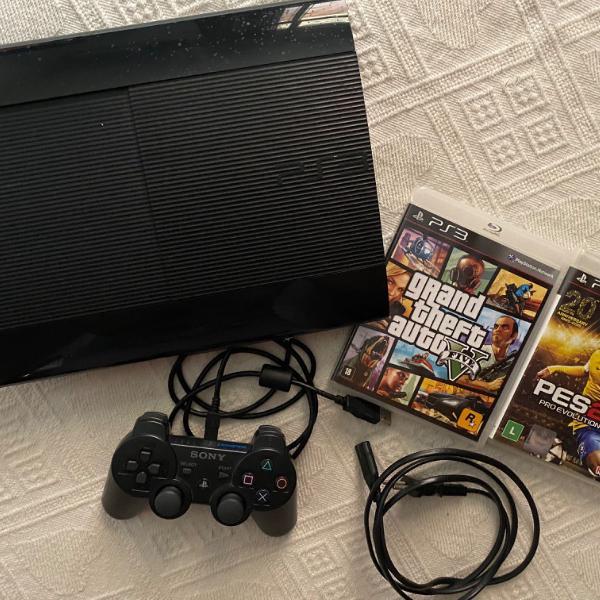 playstation 3 slim, com dois jogos