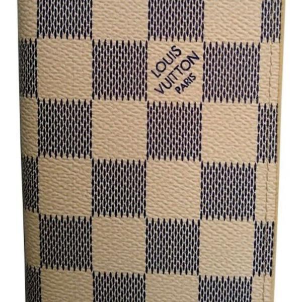 Porta cartão l.v xadrez couro branca carteira