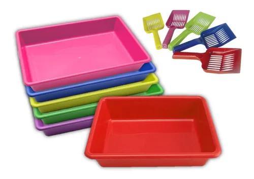 12 caixa areia p/ gato + 12 pazinha higienica cores sortidas