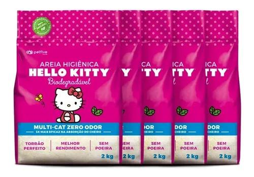 Areia higiênica hello kitty bio fina rosa p/ gatos kit 10kg