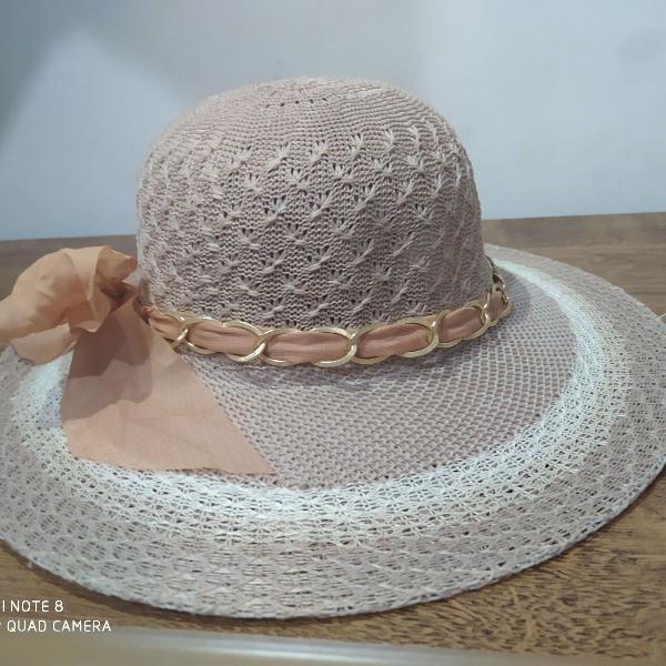 Chapéu de praia feminino com laço